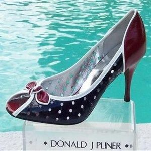 Couture Perforated Patent Leather Pump Shoe Peep T